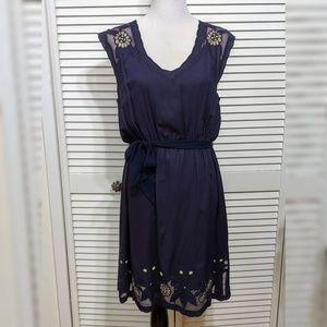 Anthropologie Navy Lace Embroidered Dress